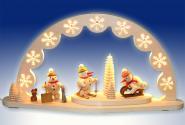 Schwibbogen mit Schneemänner, natur, elektrisch LED