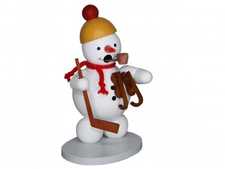 Räuchermann Schneemann mit Schlittschuh