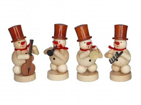 Natur-Schneemannkapelle, 4 Figuren Trompete., Baßgeige, Klarinette, Keyboard