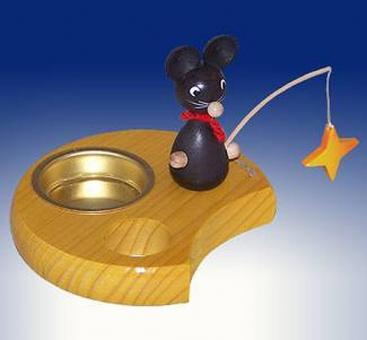 Teelichthalter Maus mit Stern